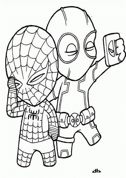 Deadpool Coloring Pages Spiderman Drawing Colouring Printable