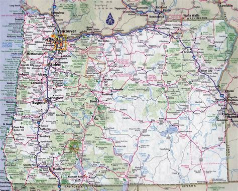 large detailed roads  highways map  oregon state