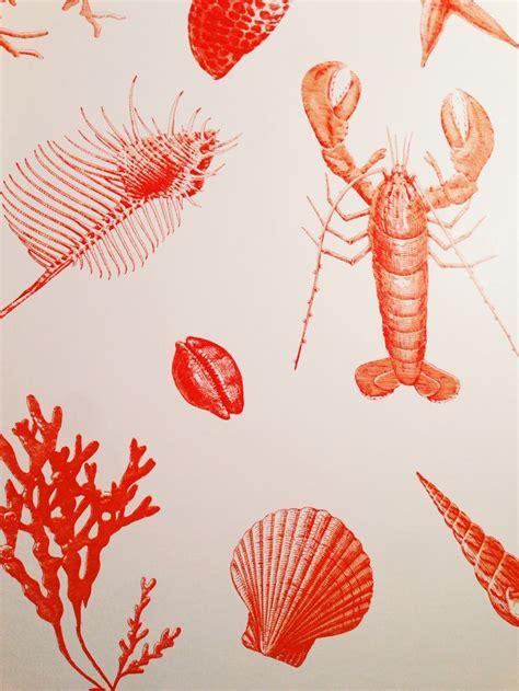 lobster wallpaper  nantucket  art  red