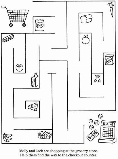 Dover Grocery Publications Maze Preschool Coloring Doverpublications