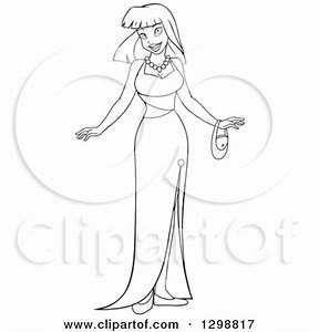 Clipart of a Black and White Lineart Beautiful Young Asian ...