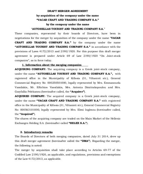 Merger Agreement Template by Merger Agreement Templates 10 Free Word Pdf Format