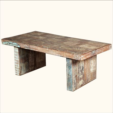 Beautiful Distressed Wood Coffee Table On Painted
