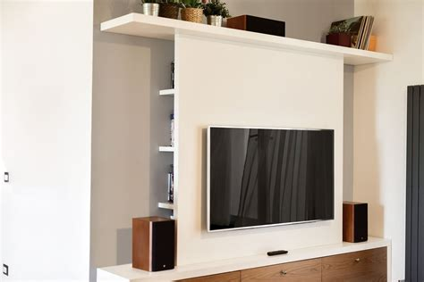 Parete Attrezzata In Cartongesso Per Tv by Parete Attrezzata Tv In Legno Progetto Su Misura