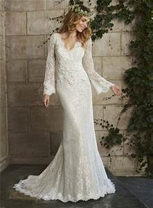 Vintage Mermaid Scalloped Neck Low Back Long Sleeve Lace ...