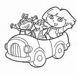 Dora Coloring Explorer Boots Swiper Ride Netart sketch template
