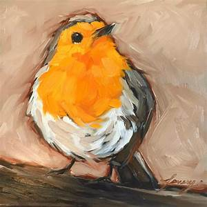 Red breasted Robin bird painting 5x5 impressionistic by ...