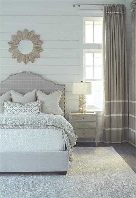 light gray bedroom  gay curtains  white stripes