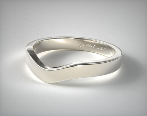 mm curved womens wedding band  white gold