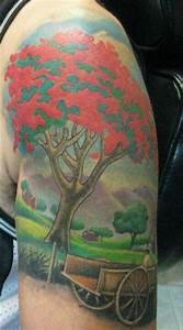 Puerto Rico...Flamboyant tree and wagon | Tattoos ...