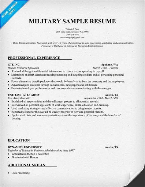 military resume sample   helpful  working
