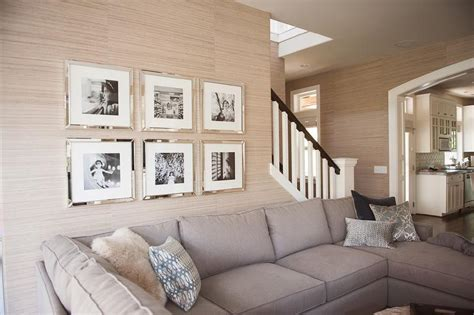 mirrored frames transitional living room
