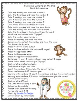 monkeys jumping   bed printable