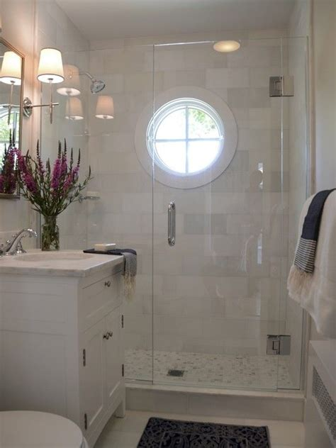 nautical shower window white marble  light blue