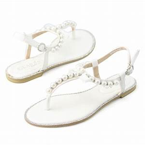 new womens pearl wedding flat bridal shoes girls white With flat dress sandals for weddings