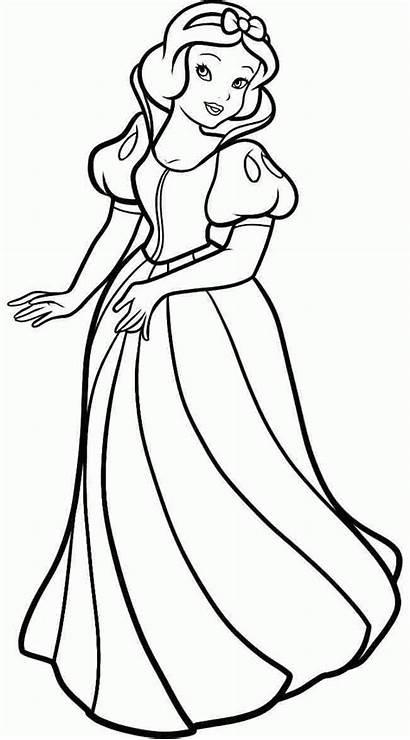 Snow Princess Coloring Disney Drawing Cartoon Pages