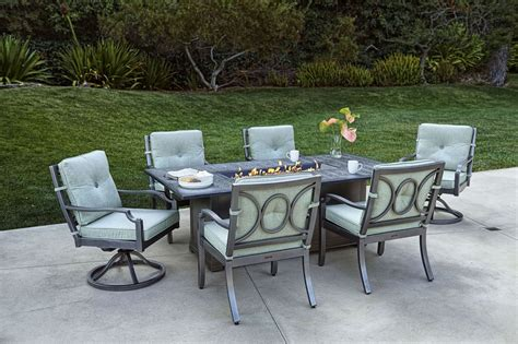 aragon  pc fire pit dining table set