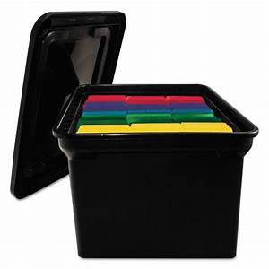 file tote storage box w lid legal letter plastic black With legal letter box