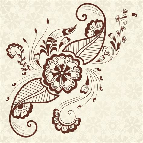 vector illustration of mehndi ornament traditional indian style ornamental floral elements for