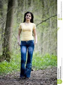 Forest brunette teen girl