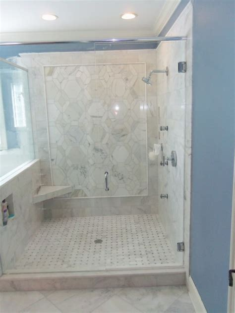 Carrara Marble Tile Bathroom by Carrara Marble Master Bathroom Traditional Bathroom