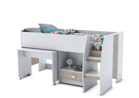 lit mezzanine combin bureau lit combine bureau axel blanc chene
