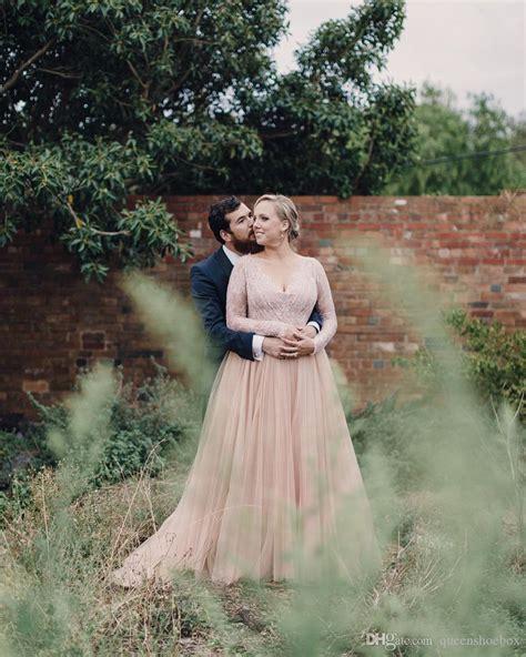 discount   size blush wedding dresses long sleeves