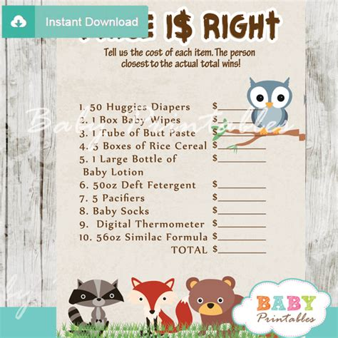 woodland baby shower games  baby printables