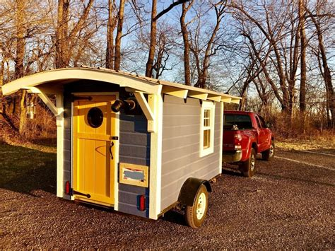 yellow  blue color complement    tiny house listings tiny house trailer