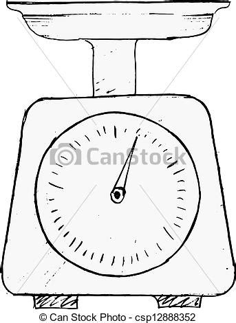 Hand drawn, vector, sketch illustration of domestic weigh