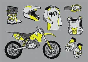 Motocross Starter Pack Doodle Vector Illustration