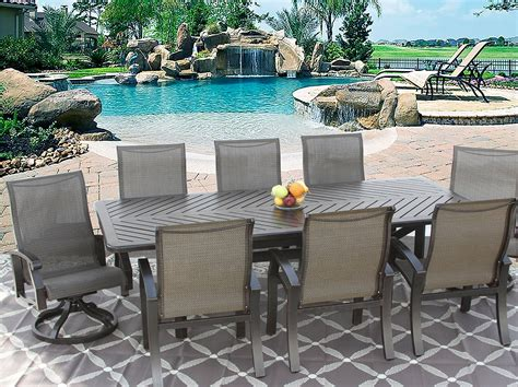barbados sling outdoor patio 9pc dining set for 8 person