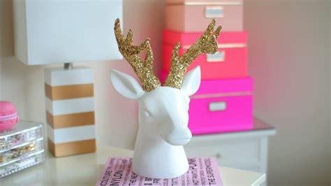 diy chrismaswinter room decor sparkly deer head youtube