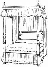 Bed Clipart Bedroom Canopy Clip Pages Coloring Poster Four Household Furniture Wpclipart Cliparts Transparent Gclipart Library Twin Sheets Terms Single sketch template