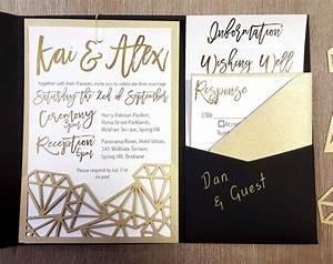 My diy story geometric black gold foil pocket for Diy pocket wedding invitations youtube
