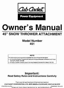 Cub Cadet 451 Snow Thrower Snow Blower 45 U0026quot  Operator And Parts Manual 45 Inch