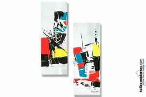 Tableau Moderne Coloré : tableaux contemporains diptyque color format portrait petit prix d co tendance ~ Teatrodelosmanantiales.com Idées de Décoration