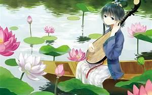 Anime, Girl, Beautiful, Dress, Lotus, Kimono, Wallpapers, Hd, Desktop, And, Mobile, Backgrounds