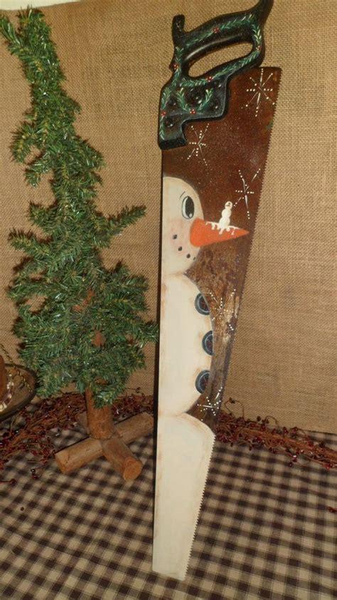 primitive hand painted snowman vintage hand