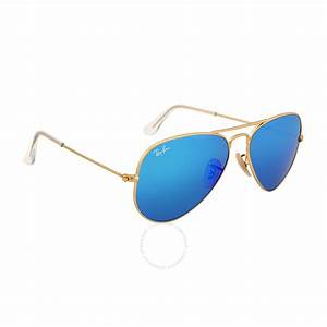 Ray-Ban Aviator Gold Metal Frame Blue Mirror Crystal Lens ...