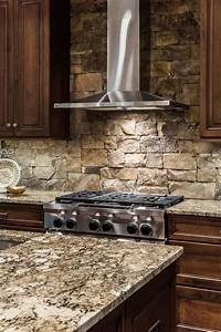 stacked stone kitchen backsplash contemporary kitchen With kitchen cabinets lowes with rolling stones wall art