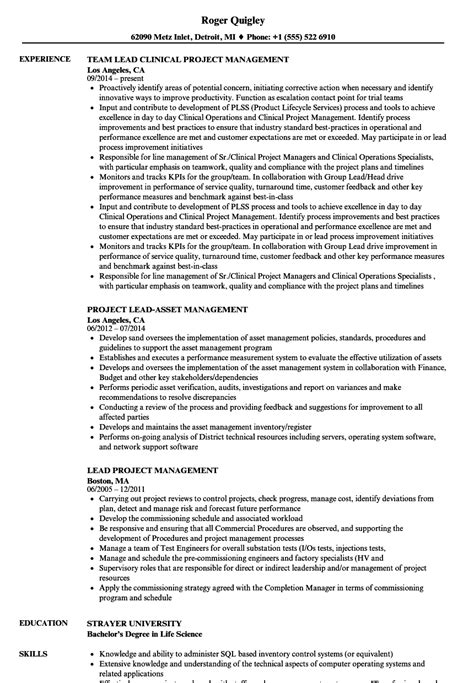Project Lead Resume Sle by Lead Project Management Resume Sles Velvet