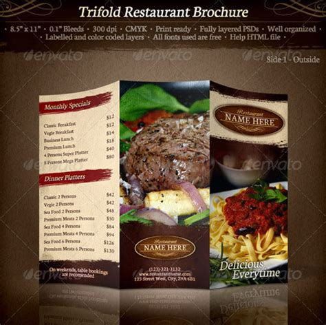 Restaurant Brochure Templates by 25 High Quality Restaurant Menu Design Templates Web