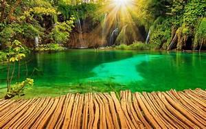 Croatia, Parks, Lake, Waterfall, Plitvice, Rays, Of, Light, Nature, Garden, Wallpaper, Background