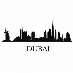 DUBAI City Decal Landmark Skyline Wall Stickers Sketch