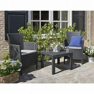 Salon Jardin Balcon : set mobilier balcon rattan rosario graphite cool grey doua locuri ~ Teatrodelosmanantiales.com Idées de Décoration