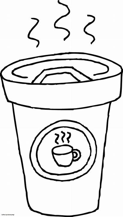 Coffee Coloring Cup Pages Clipart Tea Clip