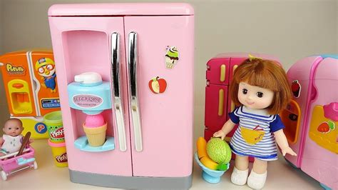 Baby Doll Big Refrigerator Toy And Play Doh Ice Cream W