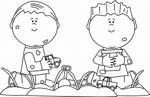 Black and White Boys Playing in Dirt Clip Art - Black and ...