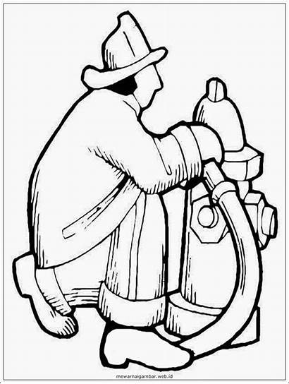 Gambar Sketsa Hitam Putih Pemadam Kebakaran Mewarnai